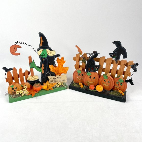 Two Vintage Hand Painted Wooden Halloween Decorations